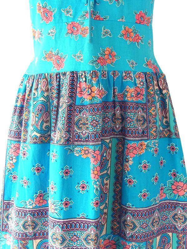 ヨーロッパ古着 フランス買い付け 60年代製 ターコイズブルー X 花柄 組紐 ロング丈 ストラップ ワンピース 20FC005