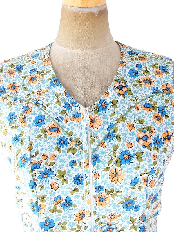 フランス買い付け 60年代製 水色 X オレンジ 若草色 パイピング ポケット付き フロントジップ ワンピース 20FC008