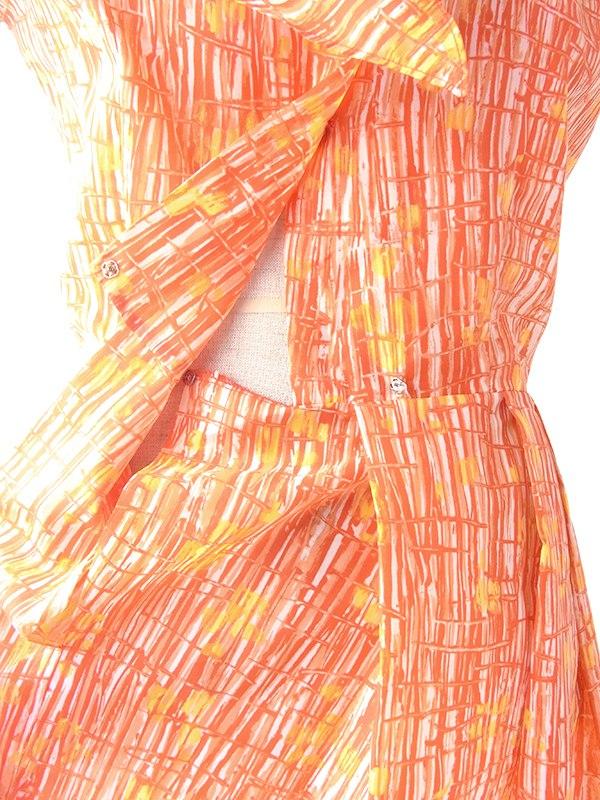 ヨーロッパ古着 70年代フランス製 オレンジ X レッド レトロ柄 ボウタイ プリーツ ワンピース 20FC010
