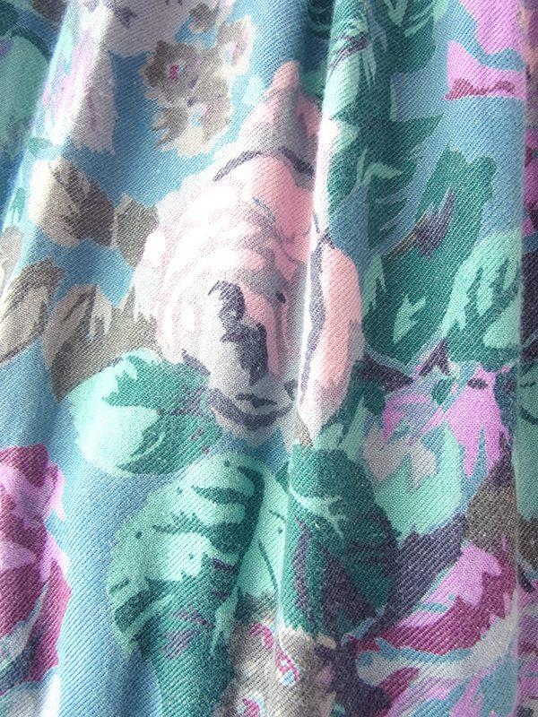 ヨーロッパ古着 フランス買い付け 60年代製 シアンブルー X パープルライニング 花柄 生地切替し ワンピース 20FC013