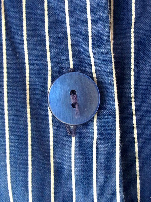 ヨーロッパ古着 フランス買い付け 60年代製 ブルー X ホワイト ピンストライプ ポケット付き ヴィンテージ ワンピース 20FC014