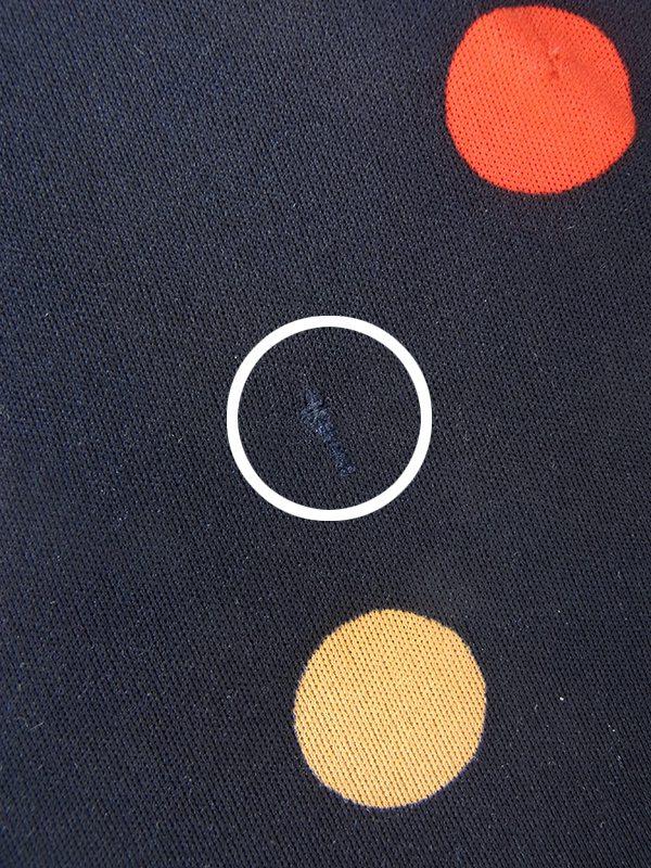 【ヨーロッパ古着】フランス買い付け 70年代製 ネイビー X レッド・ホワイト・ゴールド 水玉 巻きワンピース 20FC017【おとなかわいい】