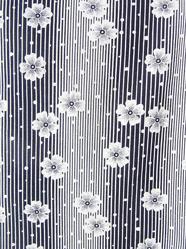 ヨーロッパ古着 フランス買い付け 60年代製 モノトーン X 花柄・ストライプ 山道テープ ポケット付き ヴィンテージ ワンピース 20FC202