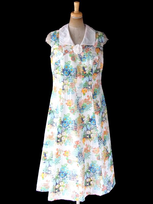 ヨーロッパ古着 フランス買い付け 70年代製 ホワイト X チェック柄・カラフル花柄 薔薇飾り ヴィンテージ ワンピース 20FC208