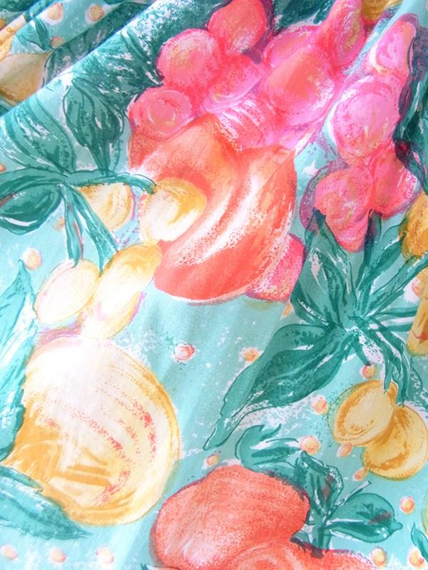 ヨーロッパ古着 フランス買い付け 60年代製 エメラルドグリーン X カラフル 花柄・フルーツ柄 共布ベルト付き ワンピース 20FC210
