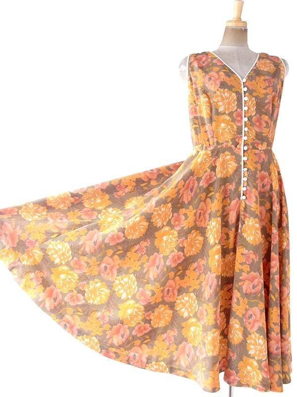 ヨーロッパ古着 フランス買い付け 70年代製 カーキ X オレンジ・ピンク 花柄 ヴィンテージ ワンピース 20FC211