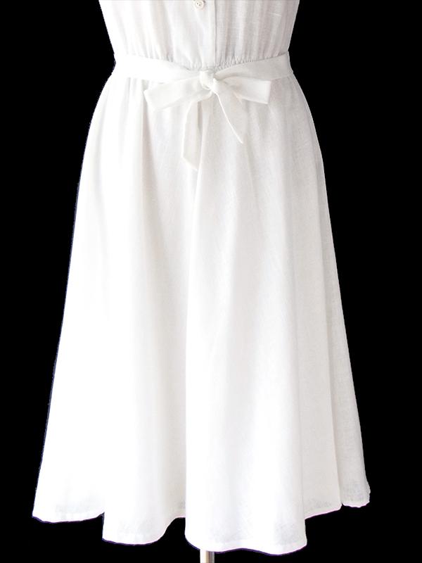 ヨーロッパ古着 フランス買い付け 60年代製 ホワイト X カットレース 固定共布ベルト付き ヴィンテージ ワンピース 20FC217