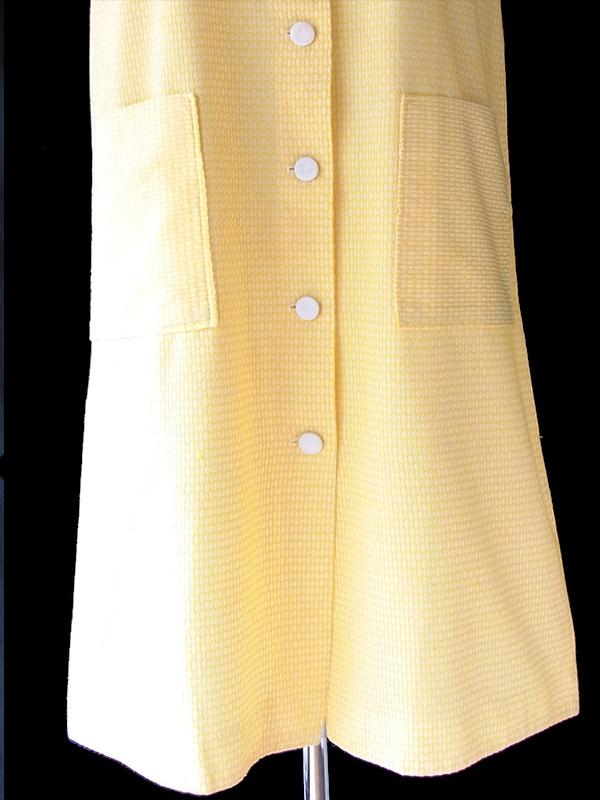 ヨーロッパ古着 フランス買い付け 60年代製 レモンイエロー X ホワイト 刺繍生地 ポケット付き ヴィンテージ ワンピース 20FC227