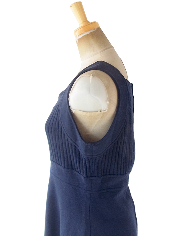 ヨーロッパ古着 フランス買い付け 60年代製 ネイビー X リブ編み ヴィンテージ ワンピース 20FC323