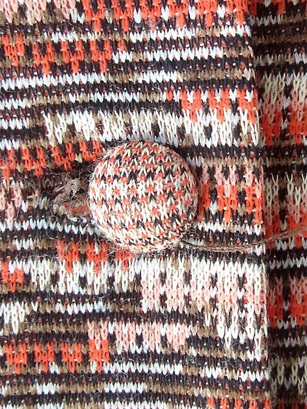 ヨーロッパ古着 60年代フランス製 オレンジ X ブラウン ジャガード織り 共布ベルト付き ヴィンテージ ワンピース 20FC326