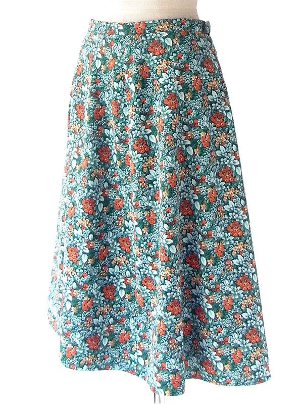 ヨーロッパ古着 フランス買い付け 70年代製 グリーン X カラフル花柄 ヴィンテージ スカート 20FC414