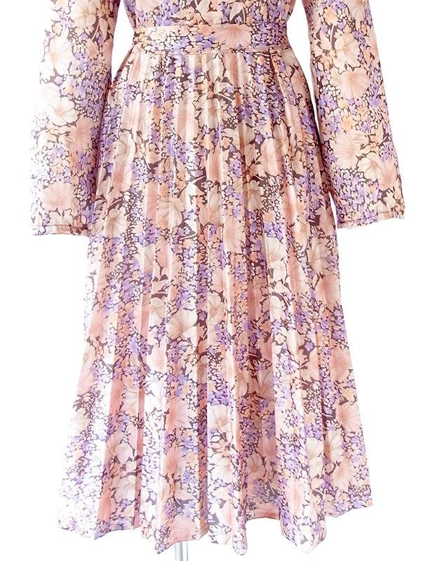 ヨーロッパ古着 フランス買い付け 60年代製 ピンク X 花柄 共布ベルト付き アンブレラプリーツ ワンピース 20FC510