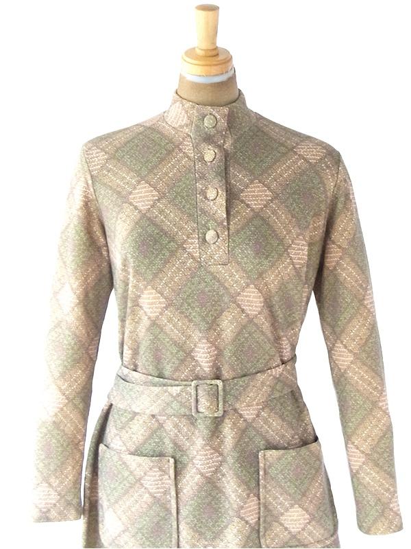 ヨーロッパ古着 70年代フランス製 ベージュ X グリーン アーガイル調レトロ柄 共布ベルト・ポケット付き ワンピース 20FC513