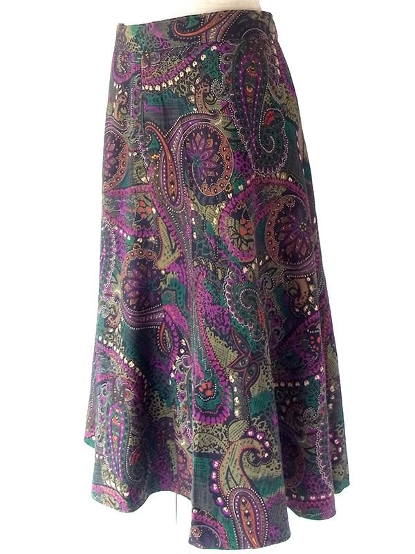 ヨーロッパ古着 フランス買い付け 60年代製 グリーン X バーガンディー ペイズリー柄 ヴィンテージ スカート 20FC516