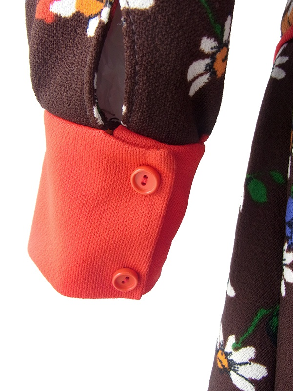 【送料無料】フランス買い付け 70年代製 ブラウン X カラフル花柄 レッド 生地切り返し レトロ ワンピース 20FC600【ヨーロッパ古着】