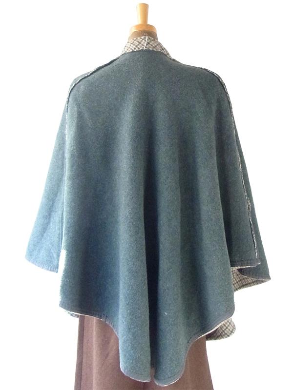 ヨーロッパ古着 フランス買い付け 60年代製 グリーン X ベージュ チェック柄 ポケット付き ウール ポンチョ 20FC617