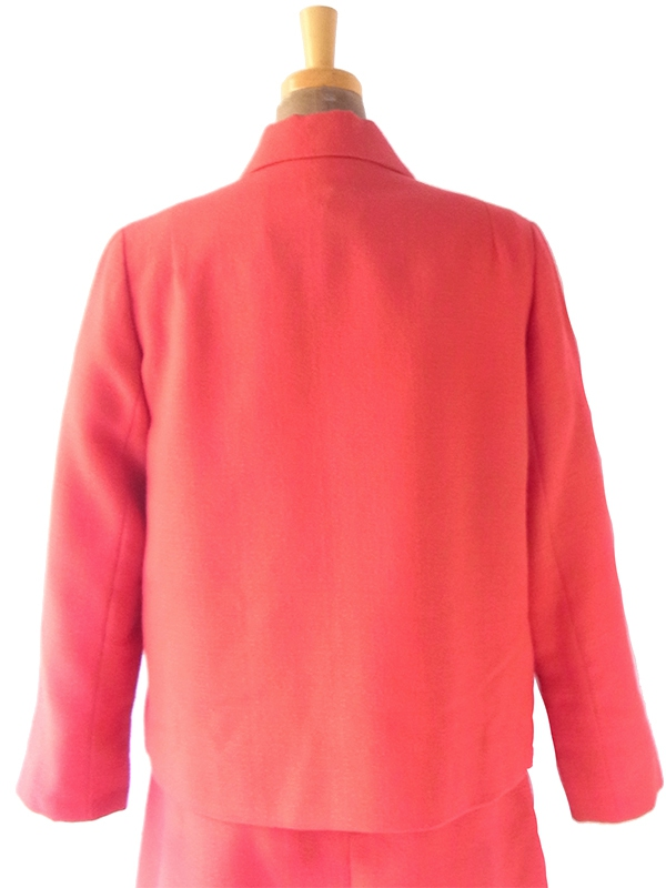 ヨーロッパ古着 フランス買い付け 60年代製 朱色 X ジャケット ワンピース セットアップ スーツ 20FC702