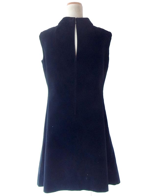 ヨーロッパ古着 フランス買い付け 60年代製 ブラック X 光沢のあるベロア生地 ドレス 20FC708