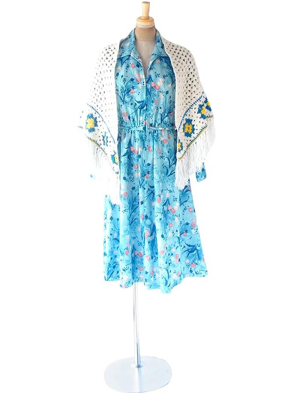 フランス買い付け 60年代製 ホワイト X ターコイズブルー・イエロー マーガレット柄 フリンジ付き ウール ニット ショール 20FC716