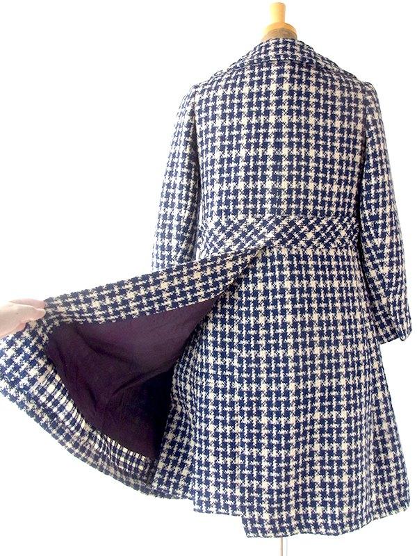 ヨーロッパ古着 フランス買い付け 60年代製 ネイビー X アイボリー ブラックチェック 厚手ツイード コート・ドレス セットアップ 20FC721