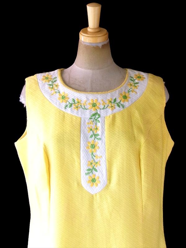 ヨーロッパ古着 ロンドン買い付け 60年代製 レモンイエロー 型押し生地 X 花柄刺繍 ヴィンテージ ワンピース 20OM004