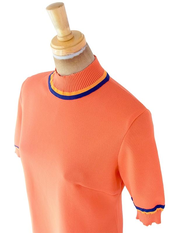 ヨーロッパ古着 ロンドン買い付け 70年代製 ブラッドオレンジ X ブルー・オレンジ縁取り リブ袖・襟 レトロ ワンピース 20OM100