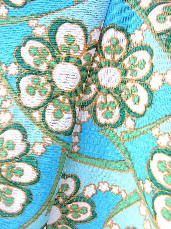 ヨーロッパ古着 70年代フランス製 水色 X グリーン・ホワイト 花柄プリント ヴィンテージ ワンピース 20OM115