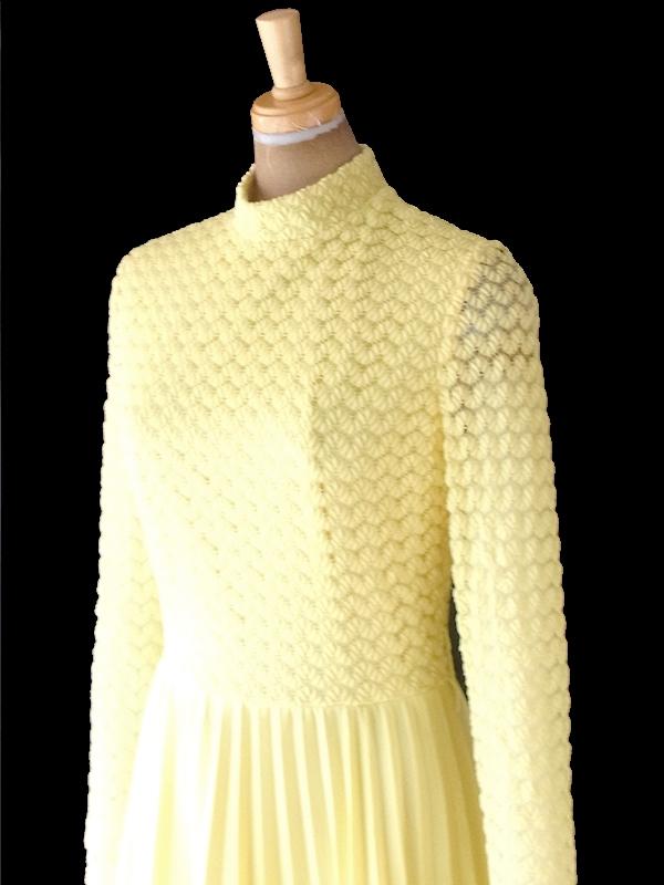 ヨーロッパ古着 ロンドン買い付け 70年代製 イエロー X レース編み アンブレラプリーツ マキシ ワンピース 20OM207