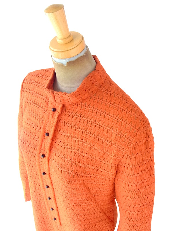 ヨーロッパ古着 ロンドン買い付け 70年代製 ブラッドオレンジ X レトロ柄テキスタイル ヴィンテージ ワンピース 20OM305