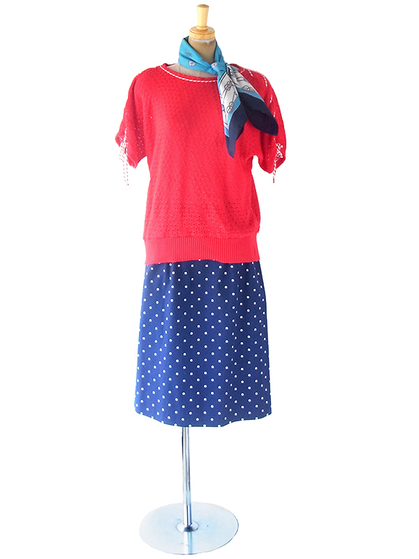 【ヨーロッパ古着】ロンドン買付 60年代製 ブルー X 水色・グリーン 花柄 コンパス X ローププリント スカーフ 20UK06【レトロ】