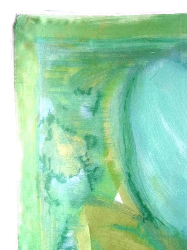 【ヨーロッパ古着】ロンドン買付 60年代製 若草色 水彩画のような花柄モチーフ シルク スカーフ 20UK08【レトロ】