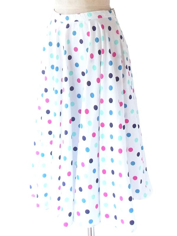 ヨーロッパ古着 ロンドン買い付け ホワイト X 水色・ピンク・パープル 水玉 ヴィンテージ スカート 21BS019