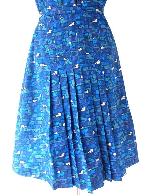 ヨーロッパ古着 ロンドン買い付け 70年代製 ブルー X  エメラルドグリーン レトロ柄 共布ベルト付き ワンピース 21BS101