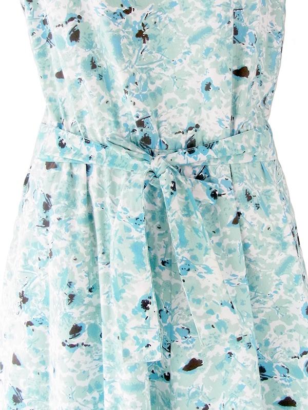 ヨーロッパ古着 ロンドン買い付け 水色 X 水彩のような花柄プリント 共布ベルト付き ヴィンテージ ワンピース 21BS102