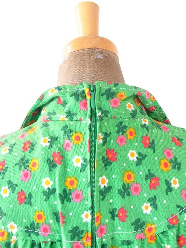 ヨーロッパ古着 ロンドン買い付け 60年代製 グリーン X カラフル 花柄 ポケット付き チュニック ワンピース 21BS104