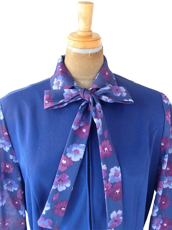 ヨーロッパ古着 ロンドン買い付け ブルー X パープル花柄 生地切り返し 共布ベルト付き ボウタイ ワンピース 21BS109