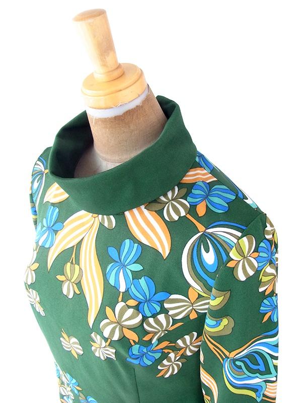 ヨーロッパ古着 ロンドン買い付け 70年代製 グリーン X カラフル レトロ花柄 ロールカラー ワンピース 21BS119