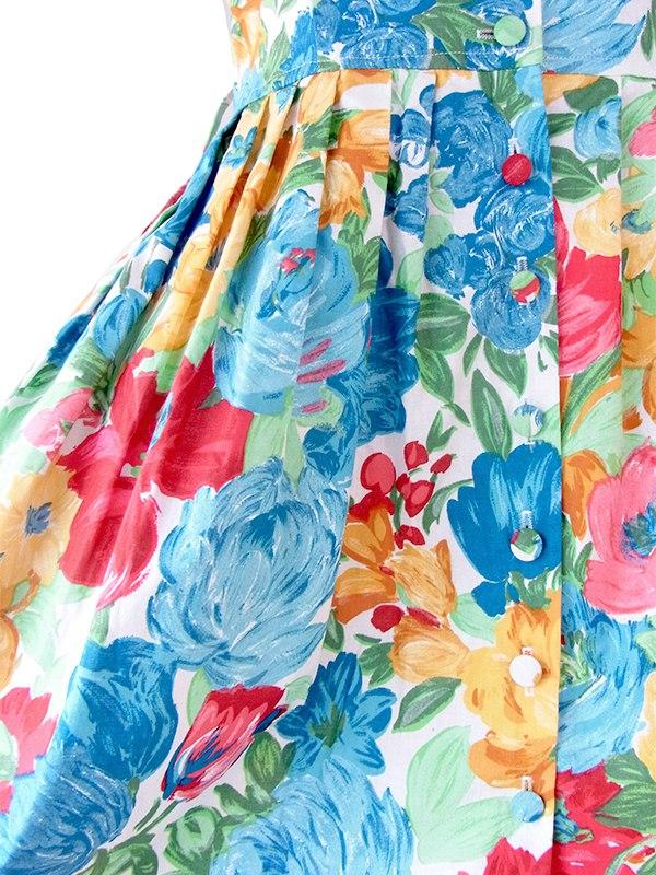 ヨーロッパ古着 フランス買い付け 60年代製 カラフル花柄 ケープカラー  ヴィンテージ ワンピース 21FC011