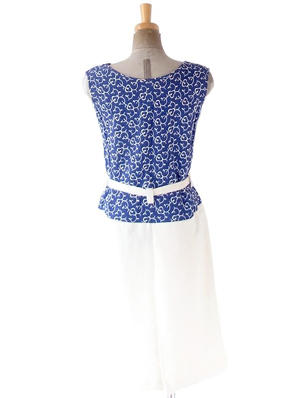 ヨーロッパ古着 フランス買い付け 60年代製 ブルー レトロ柄刺繍 X ホワイト スカート ベルト付き ワンピース 21FC015