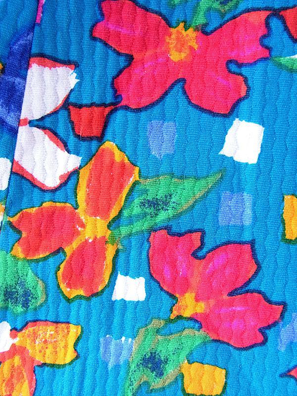 ヨーロッパ古着 フランス買い付け 60年代製 ターコイズブルー X カラフル花柄 固定共布ベルト付き ヴィンテージ ワンピース 20FC017