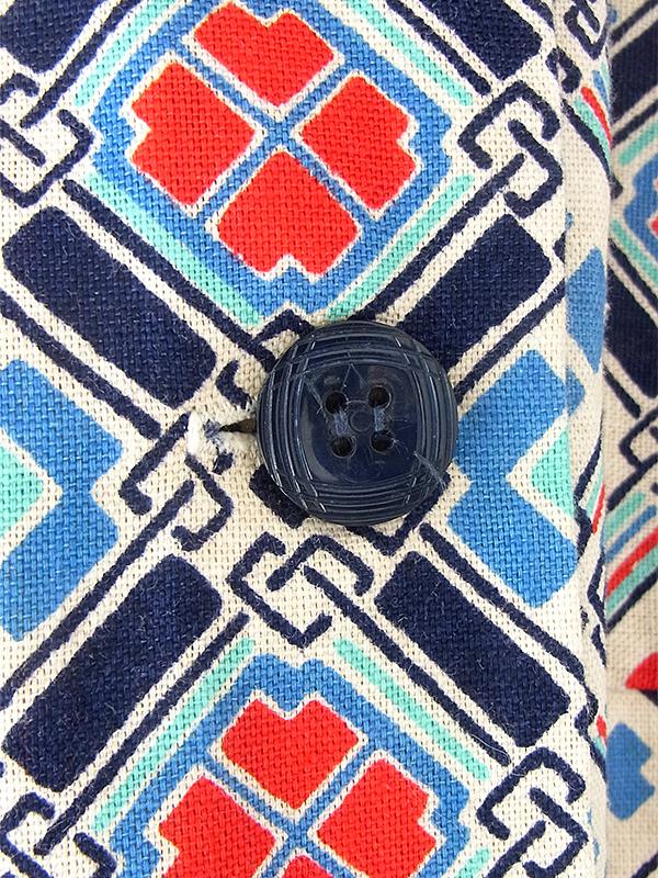 ヨーロッパ古着 フランス買い付け 60年代製 オフホワイト X ブルー・レッド レトロ柄 ポケット付き ストラップ ワンピース 21FC105