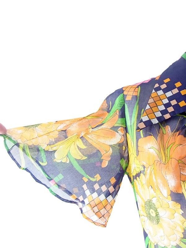 ヨーロッパ古着 フランス買い付け 60年代製 ネイビー X オレンジ・ピンク 花柄プリント ヴィンテージ ワンピース 21FC110