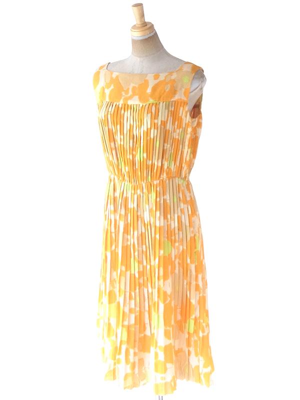 ヨーロッパ古着 ロンドン買い付け 70年代製 イエロー・オレンジ・グリーン 花柄 プリーツ ワンピース 21OM007