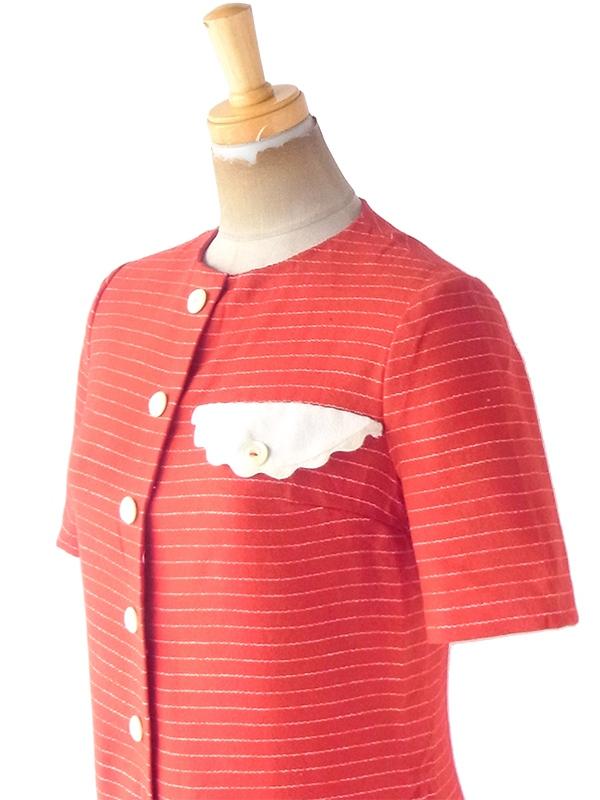 ヨーロッパ古着 ロンドン買い付け 60年代製 レッド X ホワイト ボーダー 飾りフラップ付き ウール ワンピース