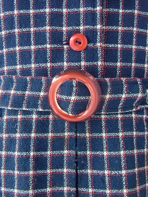 ヨーロッパ古着 ロンドン買い付け ネイビー X レッド チェック柄 ネクタイ・共布ベルト付き ヴィンテージ ワンピース 21OM103
