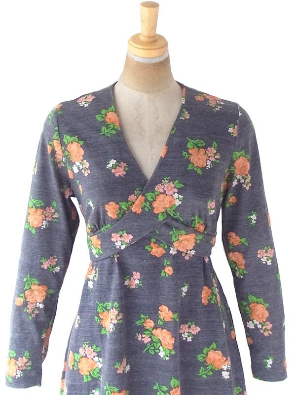 ヨーロッパ古着 ロンドン買い付け 70年代製 グレイ X オレンジ 花柄 ヴィンテージ ワンピース 21OM213