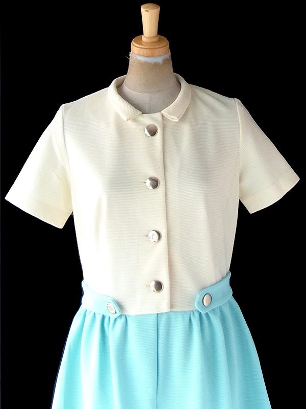 ヨーロッパ古着 ロンドン買い付け 70年代製 アイボリー X 水色 スカート 切り返し ヴィンテージ ワンピース 21OM300