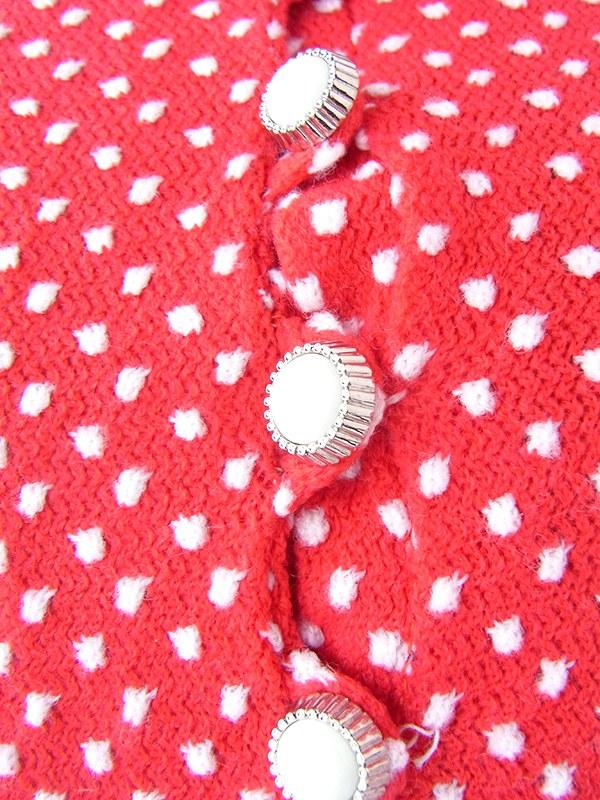 ヨーロッパ古着 ロンドン買い付け 70年代製 レッド X ホワイト 水玉 刺繍 レトロ ワンピース 21OM403