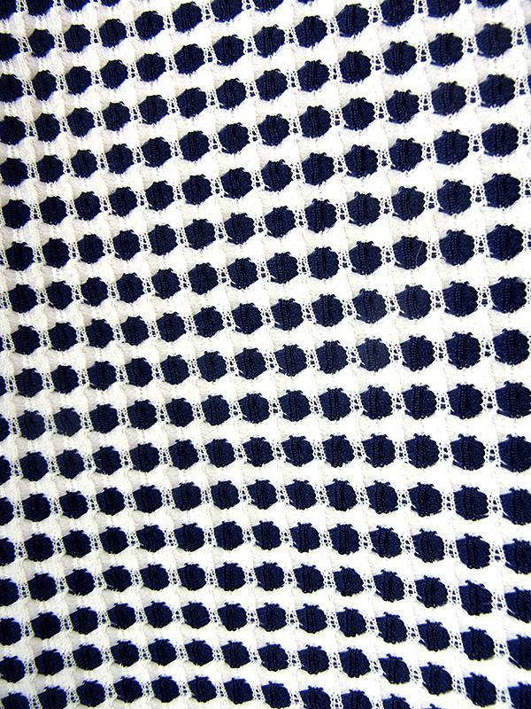 ヨーロッパ古着 ロンドン買い付け 70年代製 ホワイト X ブルー パイピング 前合わせ風デザイン ワンピース 21OM405