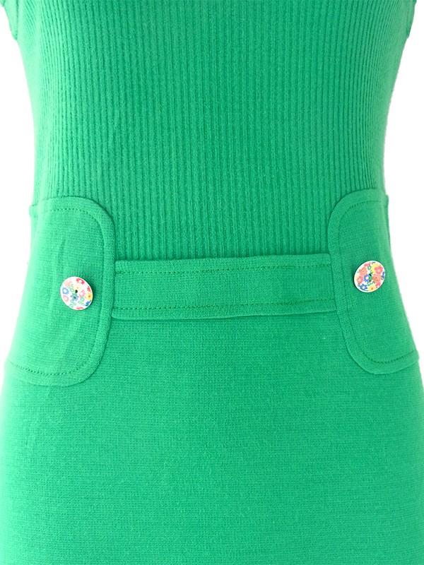 ヨーロッパ古着 60年代フランス製 ブライトグリーン X 花柄飾りボタン シームデザイン ヴィンテージ ワンピース 21OM407